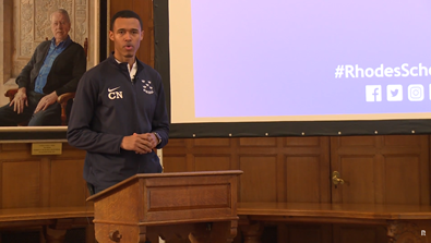 Video Screenshot - Christian Nattiel (Florida & Linacre 2017) speech at Welcome Day 2018