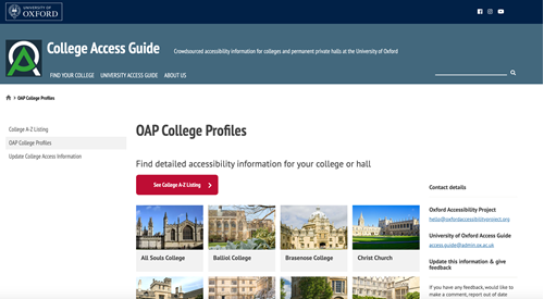 The College Access Guide Homepage, OAP College Profiles with photos of each College.