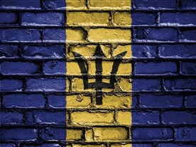 The national flag of Barbados on a brick pattern.
